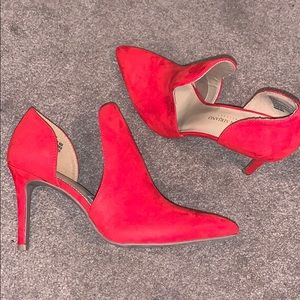 Red open booties